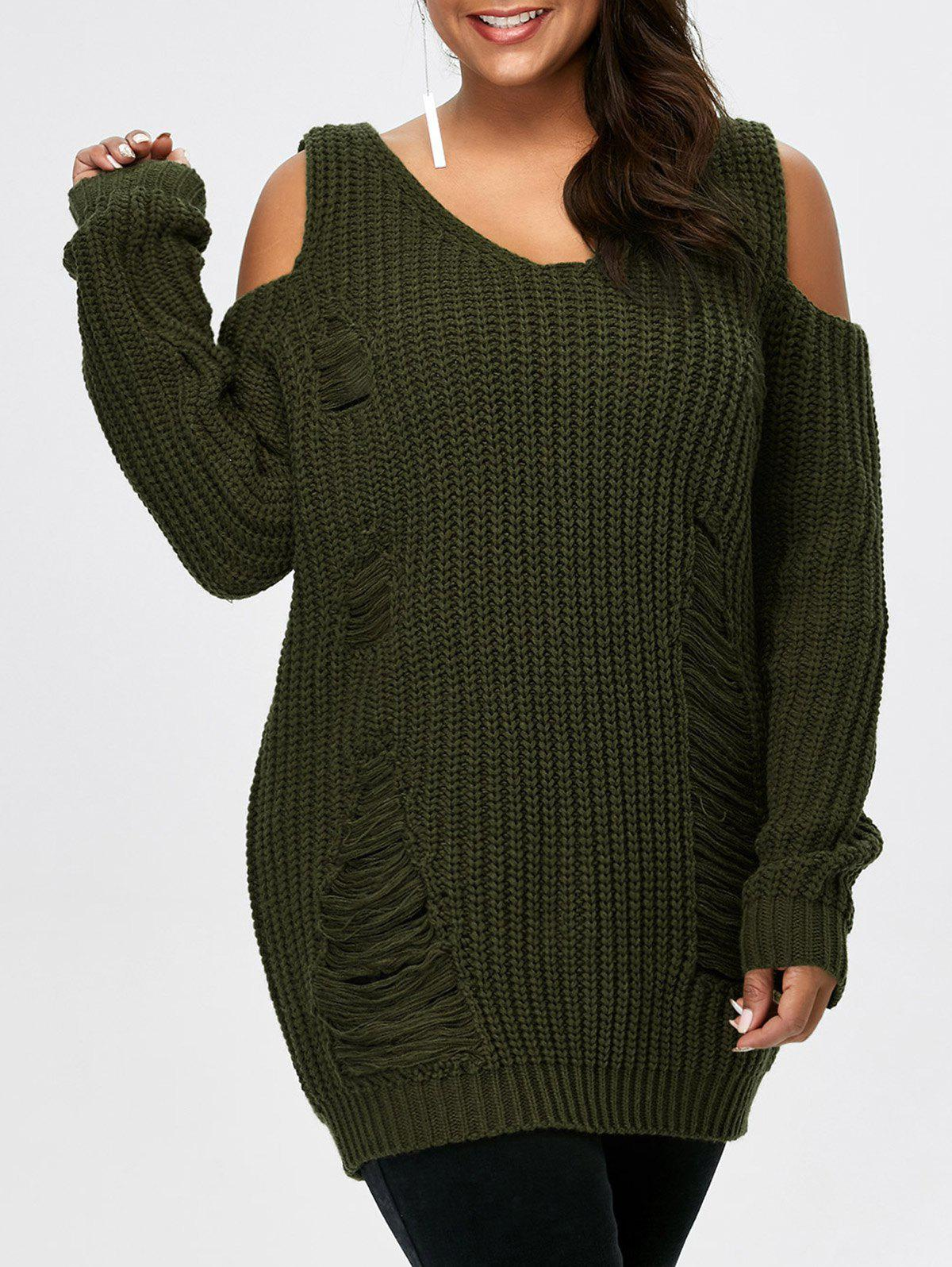 Army Green Plus Size Cold Shoulder Ripped Sweater : RoseGal.com