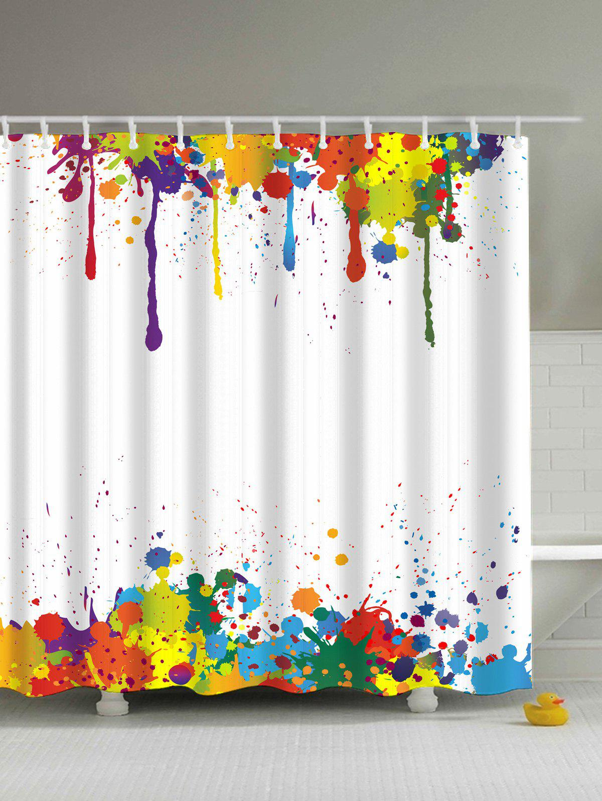 Shops Colorful Paint Splatter Waterproof Bathroom Shower Curtain