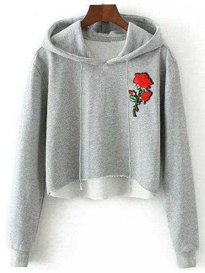 Unique Hooded Rose Embroidered Cropped Hoodie