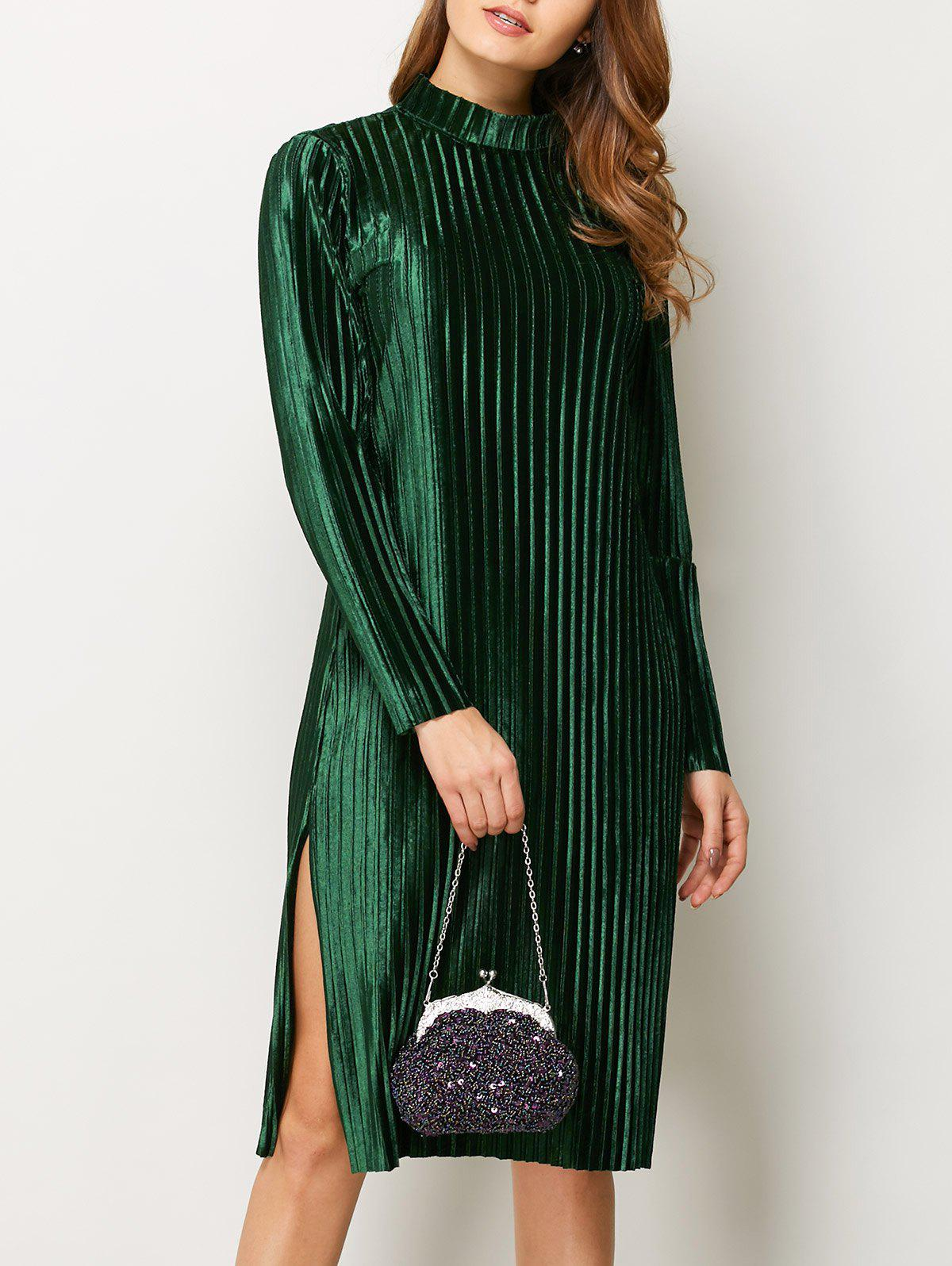 Sale Slit Long Sleeve Pleated Velvet Shift Dress