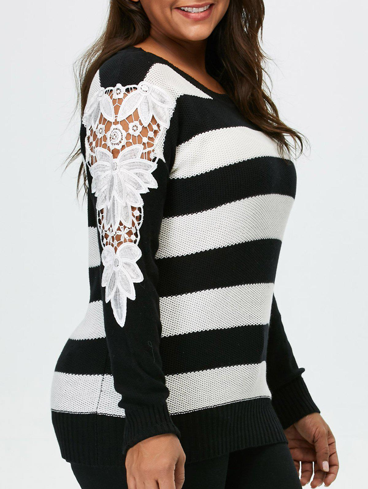 Plus Size Lace Panel Striped SweaterWOMEN<br><br>Size: 5XL; Color: BLACK; Type: Pullovers; Material: Polyester; Sleeve Length: Full; Collar: Crew Neck; Style: Casual; Season: Fall,Spring; Pattern Type: Striped; Weight: 0.350kg; Package Contents: 1 x Sweater;