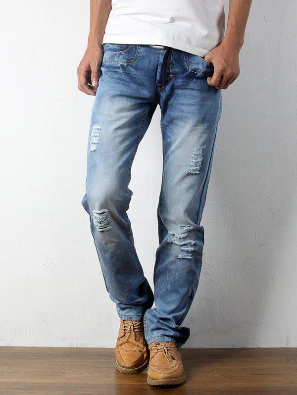 Straight Destroyed Light Denim JeansMEN<br><br>Size: 33; Color: LIGHT BLUE; Material: Cotton,Jean; Pant Length: Long Pants; Fabric Type: Denim; Wash: Light; Fit Type: Regular; Waist Type: Mid; Closure Type: Zipper Fly; Weight: 0.5330kg; Pant Style: Straight; Package Contents: 1 x Jeans; With Belt: No;