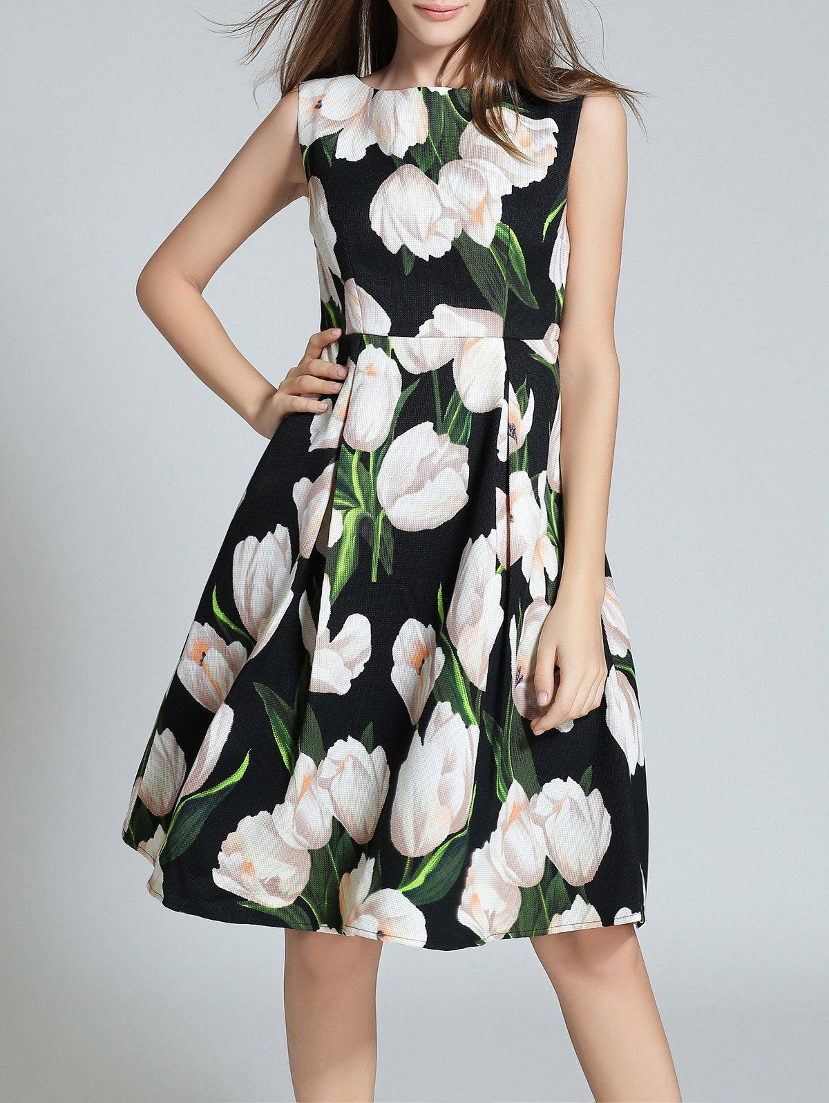 Outfit Sleeveless Floral Printed Fit and Flare Dress
