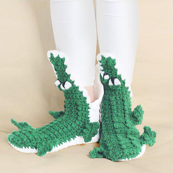 Knitted Cartoon Alligator Slipper SocksACCESSORIES<br><br>Color: GREEN; Type: Socks; Group: Adult; Gender: For Women; Style: Fashion; Pattern Type: Animal; Length(CM): Foot Length:22-25CM Total Length?38-41CM; Weight: 0.030kg; Package Contents: 1 x Socks(Pair);