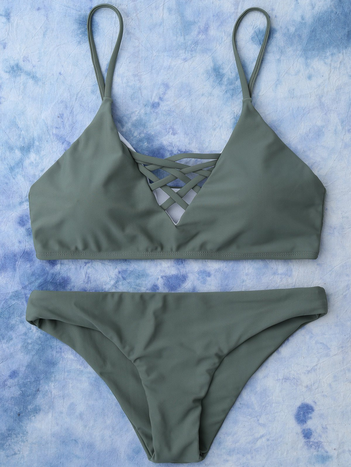 Lace Up Cami Bikini SwimwearWOMEN<br><br>Size: L; Color: ARMY GREEN; Swimwear Type: Bikini; Gender: For Women; Material: Nylon,Polyester,Spandex; Bra Style: Padded; Support Type: Wire Free; Neckline: Spaghetti Straps; Pattern Type: Solid; Waist: Low Waisted; Elasticity: Elastic; Weight: 0.2000kg; Package Contents: 1 x Top  1 x Bottoms;