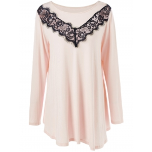 Plus Size Lace Panel Long Asymmetric T-Shirt - Nude Pink - 2xl