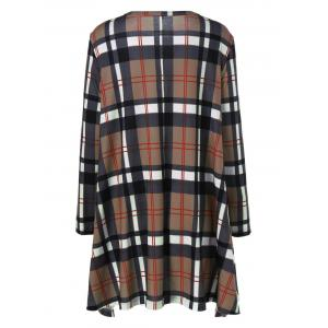 Plus Size Plaid Long Sleeves A-Line Dress - LIGHT COFFEE 4XL