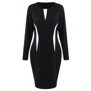 Plus Size Sheath Work Dress with Long Sleeves - White And Black - 3xl