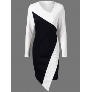 Asymmetric Long Sleeve Sheath Work Dress