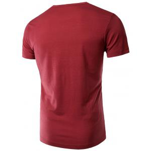 Slimming Trendy Round Neck Letter Print Short Sleeve Polyester T-shirt For Men - WINE RED M