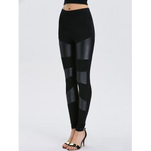 Faux Leather Bodycon Leggings - BLACK ONE SIZE