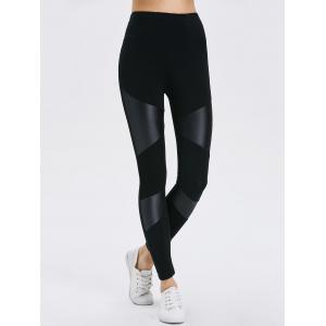 Bodycon Faux Leather Leggings - BLACK ONE SIZE