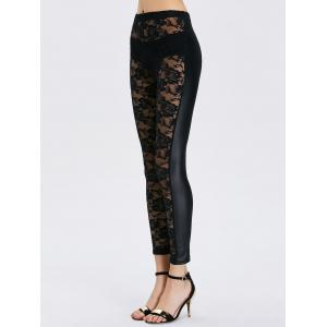 See-Through Lace Bodycon Leggings - BLACK ONE SIZE