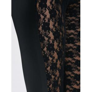 See-Through Lace Panel Bodycon Leggings - BLACK ONE SIZE