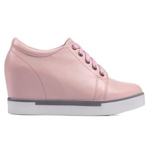 Hidden Wedge PU Leather Athletic Shoes - PINK 37