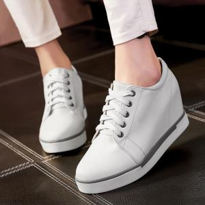 Hidden Wedge PU Leather Athletic Shoes - WHITE 37
