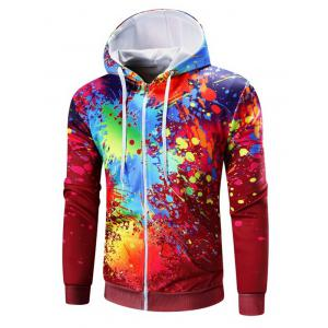 Paint Splatter Print Zip Up Hoodie