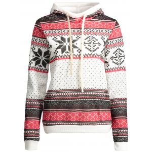 Plus Size Snowflake Pattern Drawstring Christmas Hoodie - White - Xl