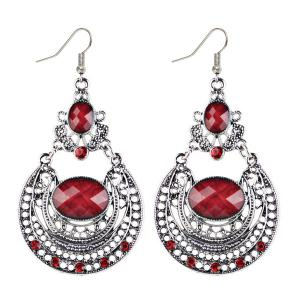 Oval Fake Gem Hollowed Antique Drop Earrings - Red