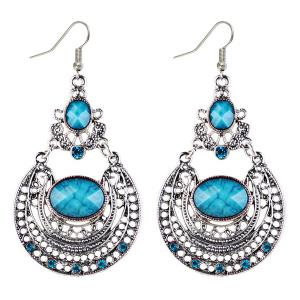 Oval Fake Gem Hollowed Antique Drop Earrings