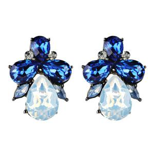 Artificial Crystal Water Drop Shape Earrings - Blue