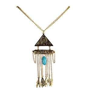 Leaf Tassel Triangle Sweater Chain - Golden