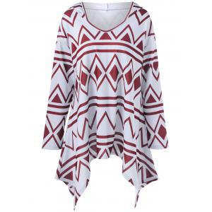Plus Size Geometric Print Asymmetrical Hoodie - Red With White - 3xl