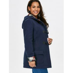 Plus Size Hooded Duffle Coat With Pocket -