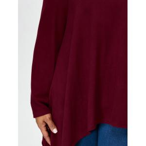 Plus Size Cold Shoulder Asymmetrical Tee - DARK RED 3XL