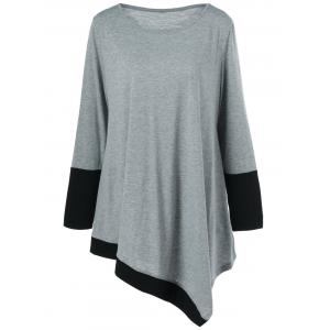 Plus Size Asymmetrical Two Tone T-Shirt