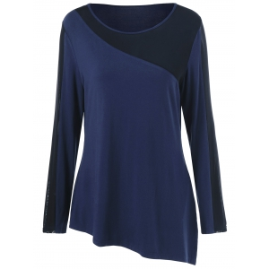 Plus Size Sheer Asymmetrical T-Shirt