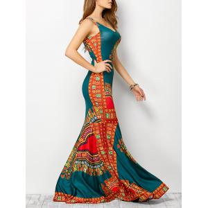 Bohemian Tribe Print Long Fitted Mermaid Dress - Lake Blue - S