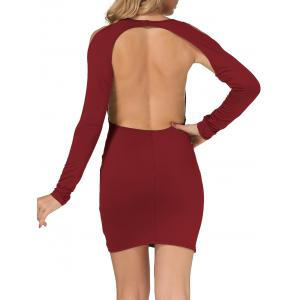 Cold Shoulder Open Back Bodycon Party Bandage Dress - BURGUNDY XL