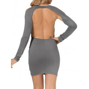 Cold Shoulder Open Back Bodycon Party Bandage Dress - GRAY XL