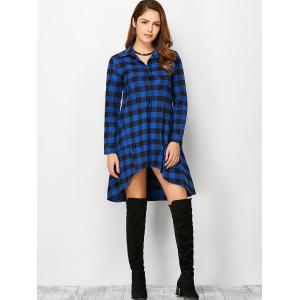 Long Sleeve Plaid High Low Flannel Polo Shirt Dress -