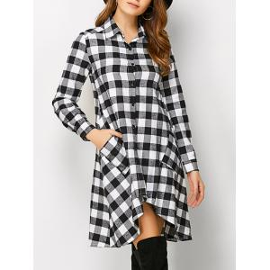 Plaid High Low Flannel Polo Shirt Dress