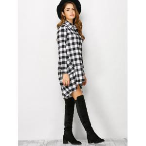 Plaid High Low Flannel Polo Shirt Dress - WHITE S