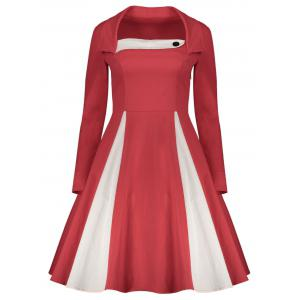 Long Sleeve Fit and Flare Vintage Dress