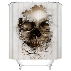 Skull Print Mildewproof Waterproof Bath Shower Curtain - White - 180cm*180cm