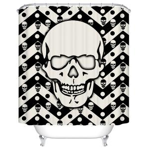 Skull Pattern Waterproof Shower Curtain Bath Decoration - Black White - 180cm*180cm