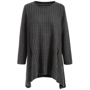 Plus Size Asymmetrical Pullover Sweater - Deep Gray - Xl
