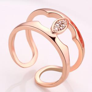 Hollow Out Rhinestone Cuff Ring - ROSE GOLD ONE-SIZE