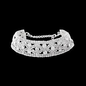 Rhinestone Eyes Hollow Out Metal Choker