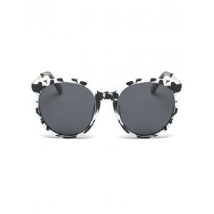 Metal Leg Cow Pattern Cat Eye Sunglasses - WHITE/BLACK