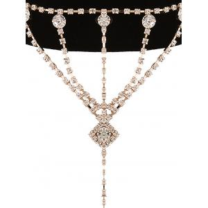 Layered Rhinestone Square Drop Velvet Choker - GOLDEN