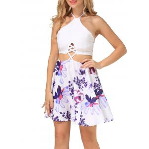 Floral Print Criss Cross Backless Dress - WHITE S