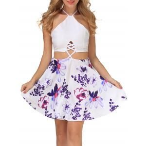 Floral Print Criss Cross Backless Dress - White - S
