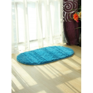 Oval Water Absorbent Polyester Fabric Antislip Bathroom Rug - Lake Blue