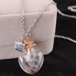 Dandelion Heart Bottle Necklace - SILVER