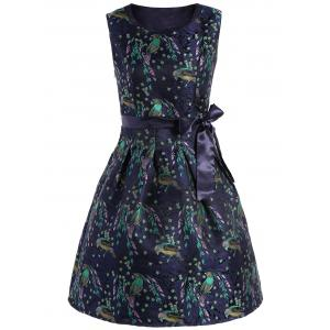 Bird Jacquard Knee Length A Line Dress With Belt